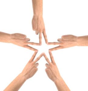 Collaboration hands together star